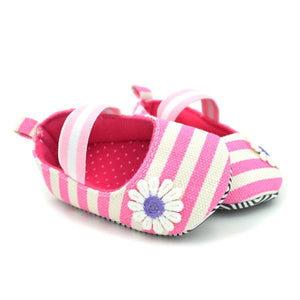 Cotton Soft Soled Striped Flower fFirst Walker Crib Shoes for Baby Girls