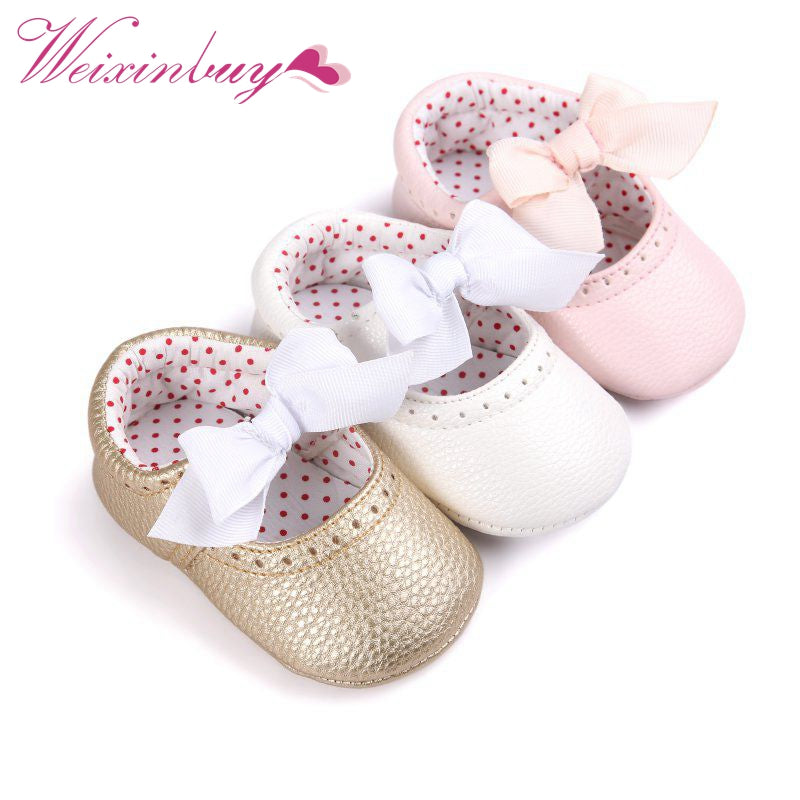 Soft Bottom PU Leather First Walker Moccasion Toddler Shoes