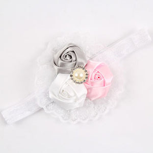 Pink Lace Flower Headband and Scarf Hair Accessories for Girls