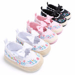 Baby Crib Anti-slip Soft Sole Bow Embroidery Toddler Shoes