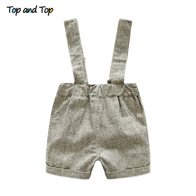 2Pc Baby Boy Short Sleeve T-shirt + Suspender Gentleman Suit