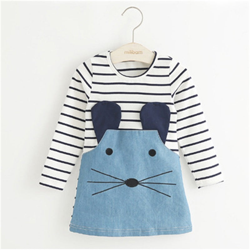 Baby Girl Striped Patchwork Long Sleeve Mouse Denim Dress