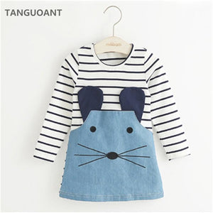 Girl Striped Mouse Patchwork Long Sleeve Denim Clothes