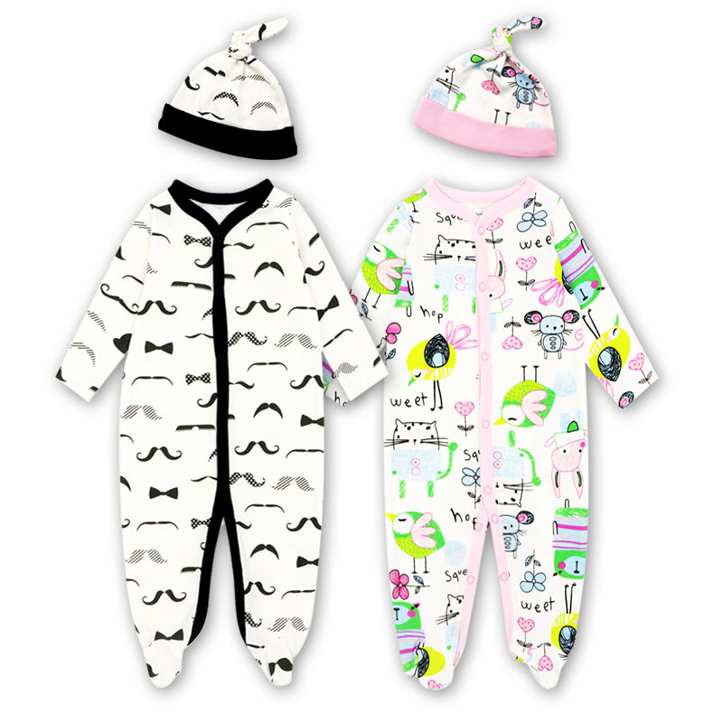 Long Sleeve Animal Cartoon Rompers Jumpsuit & Hat
