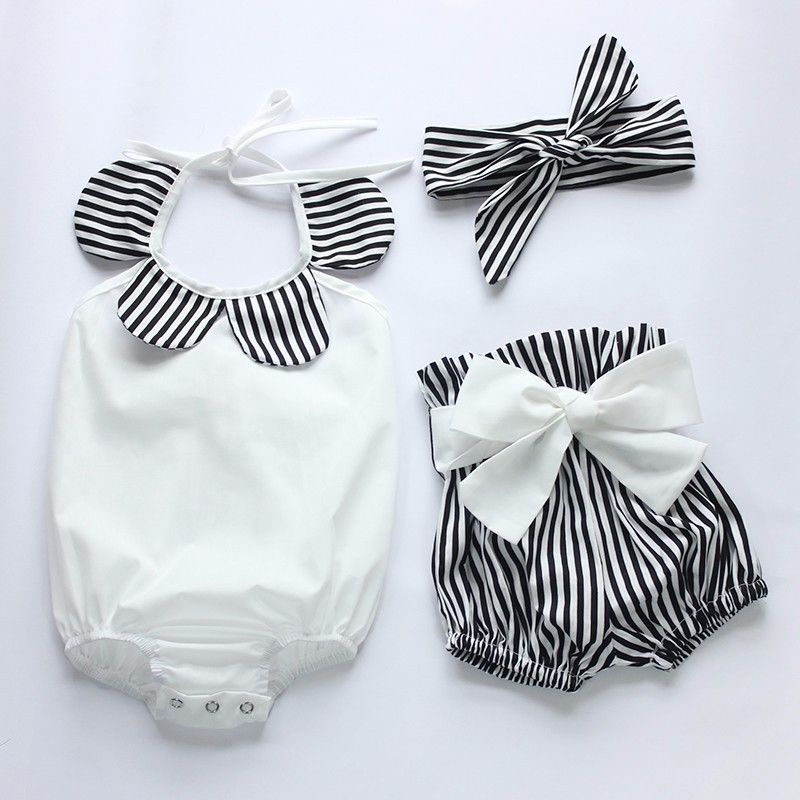 3Pc Romper Top Striped Shorts Head Band Sunsuit