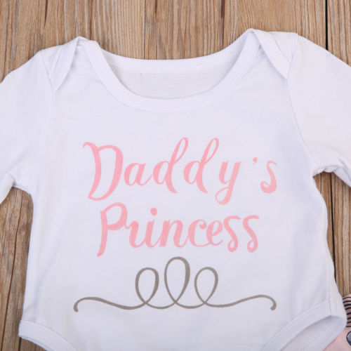 3Pc Baby Daddy's Princess Romper Long Pants Hat Set