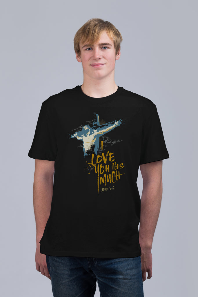 I Love You This Much - Unisex Tee Black/Navy
