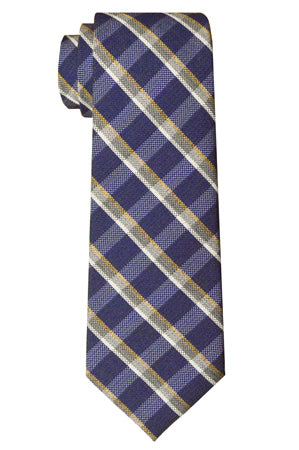 Fulton Plaid Tie Navy
