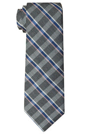 Fulton Plaid Tie Grey