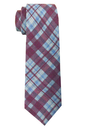 Sutton Plaid Tie Wine