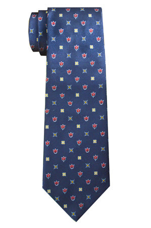 Harrow Flower Tie Navy