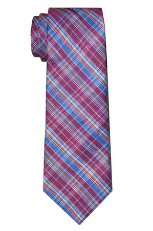 Jackson Plaid Tie Raspberry