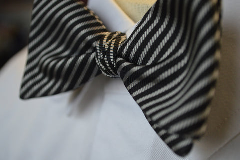 Irwin Stripe Bow Tie Black/Gray