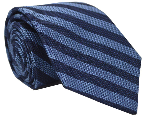 Burling Grenadine Stripe Tie Navy/Blue
