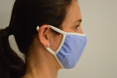 Blue Solid Reusable Face Mask With Elastic Straps