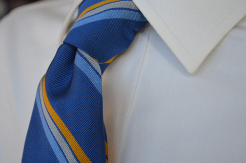 Vesey Striped Tie Blue