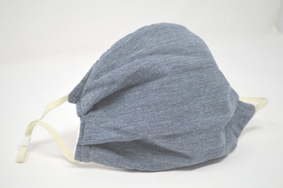 Navy Chambray Reusable Face Mask With Elastic Straps