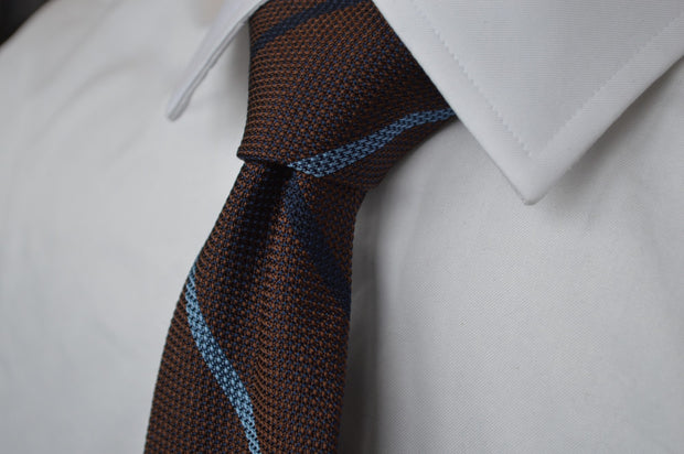 Colden Grenadine Stripe Tie Brown