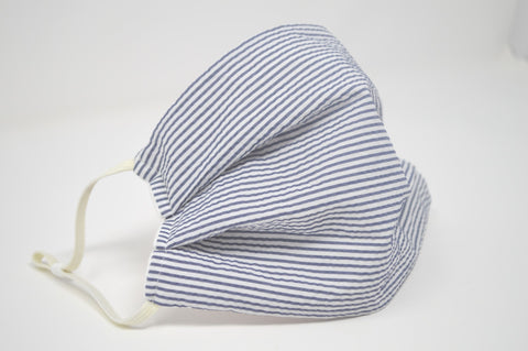 Navy Seersucker Reusable Face Mask With Elastic Straps