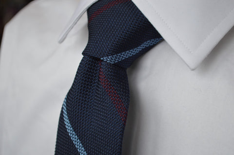 Colden Grenadine Stripe Tie Navy