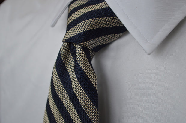 Burling Grenadine Stripe Tie Navy/Khaki