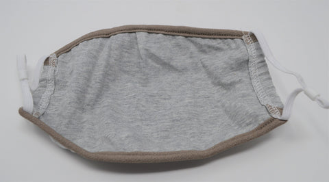 Grey Solid Reusable Face Mask With Elastic Straps