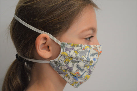 Kids Safari Reusable Face Mask With Elastic Straps