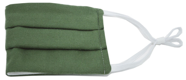 Green Solid Pleated Face Mask With Nose Bridge