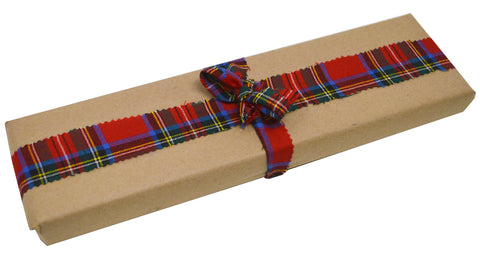 Zero Waste - Gift wrapped with our recyclable cutting paper and wool tartan fabric strips.