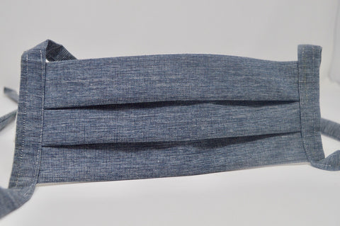 Navy Chambray Reusable Face Mask With Cotton Fabric Straps