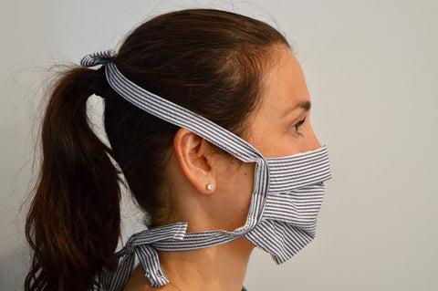 Seersucker Reusable Face Mask With Cotton Fabric Straps
