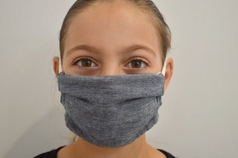 Kids Navy Chambray Reusable Face Mask With Elastic Straps