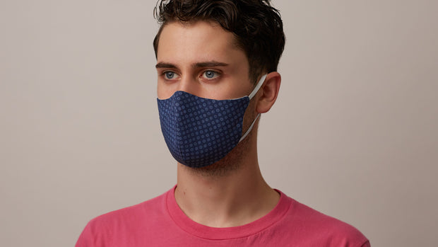 Navy Foulard Face Mask