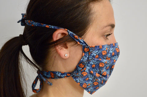 Plume Poppy Reusable Face Mask With Cotton Fabric Straps