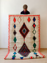 Load image into Gallery viewer, Azilal, Teppich, München, rug, berber rug, tapis, berberteppich, berber, Marokko, Maroc, Morocco, 100% lamb`s wool, bunt, weiss, farbig, wolle, atlas, atlas mountains, middle atlas, high atlas, München, Munich, Muenchen, toudarugs, TOUDA RUGS