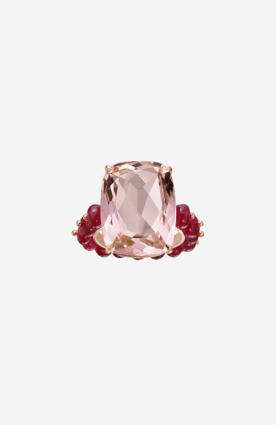 Rose Gold Rose Quartz and Ruby Bead Ring