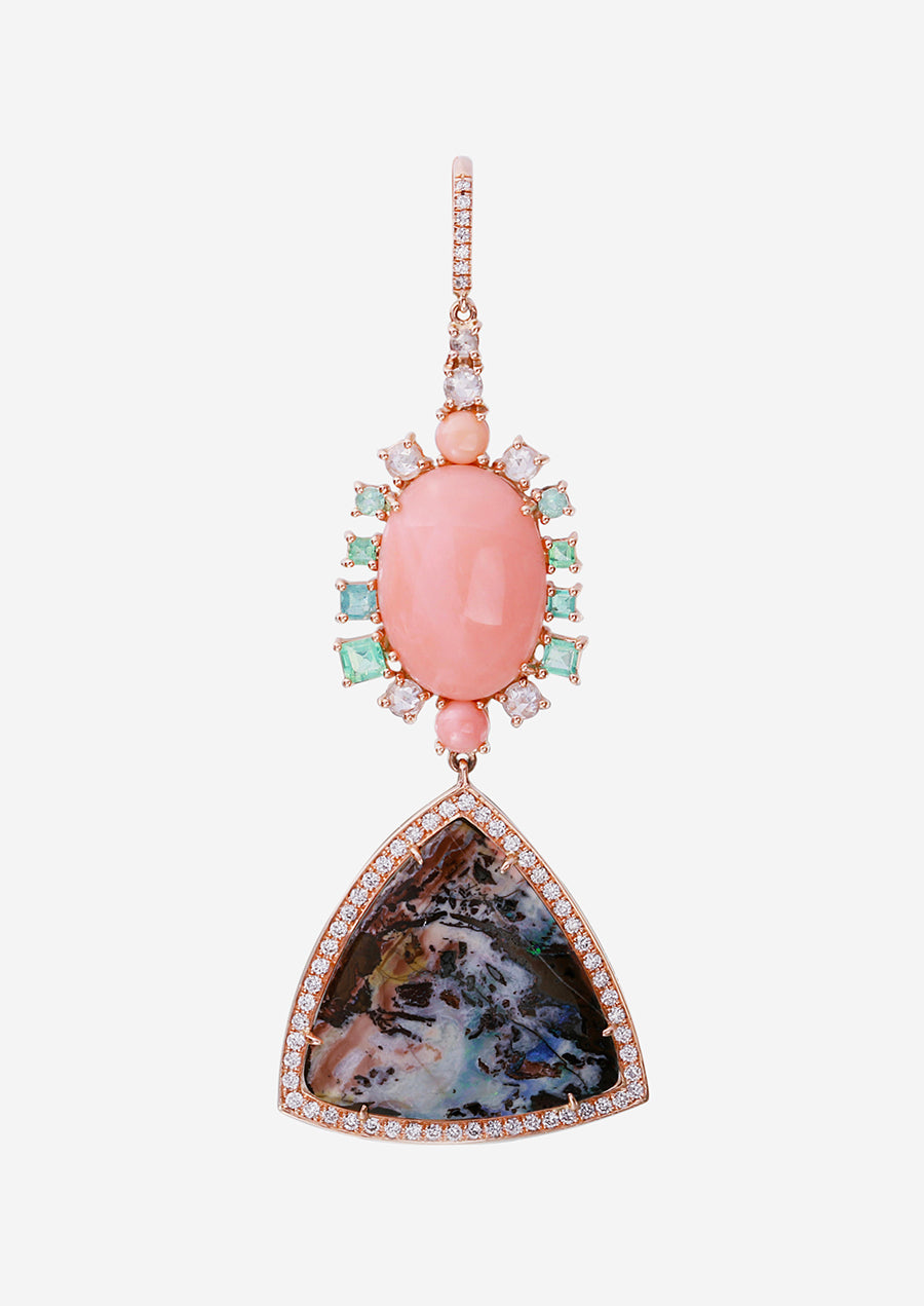 Rose Gold Yahwah Opal and Coral Earrings with Pave Diamonds