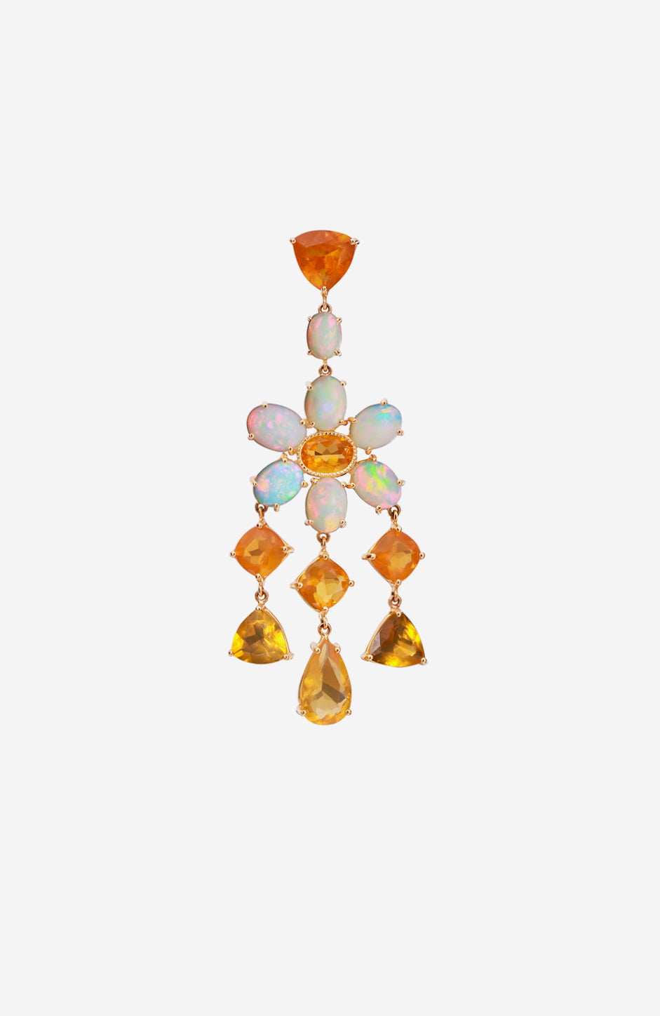 Yellow Gold Mixed Shape Mexican Fire Opal and Crystal Opal Earrings