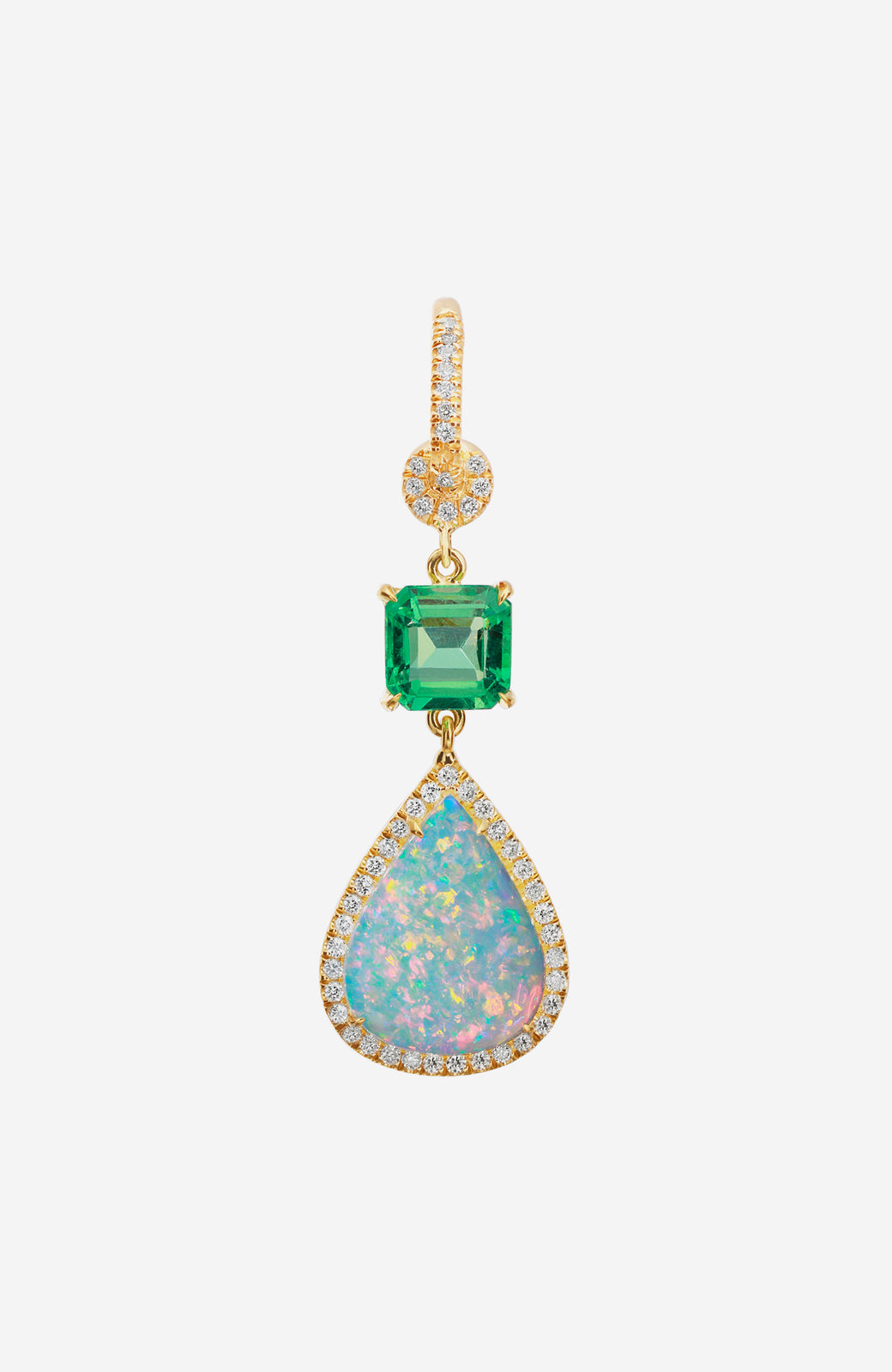 Yellow Gold Emerald and White Opal Earrings with Pave Diamonds