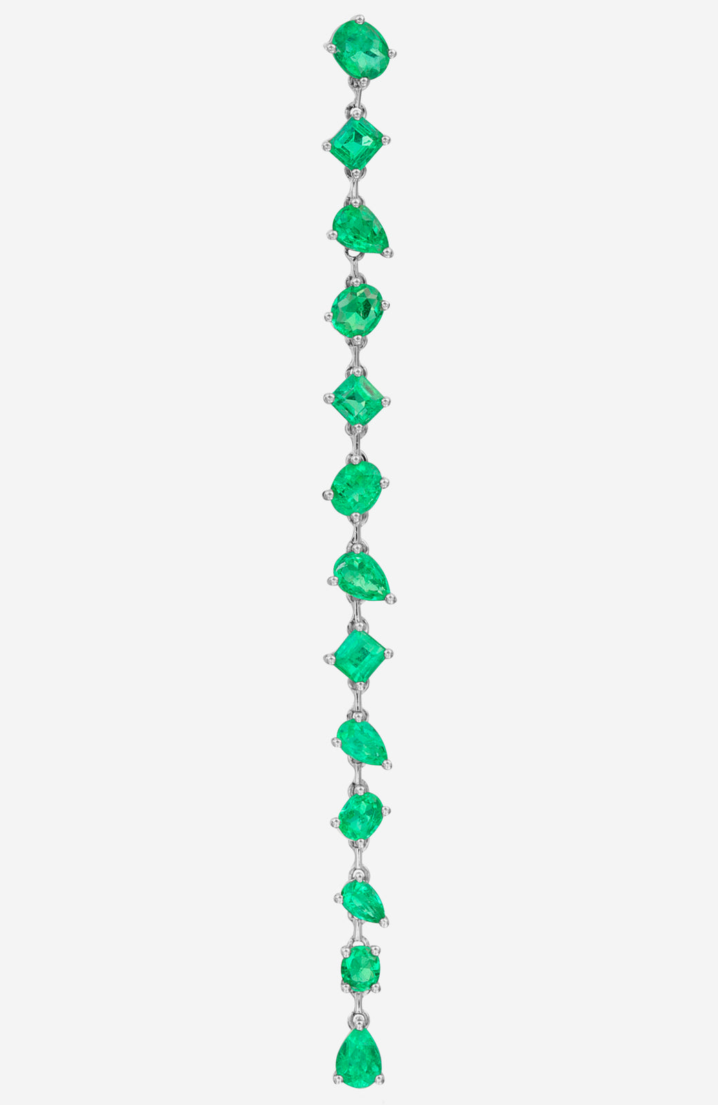 White Gold Mixed Shape Emerald Earrings