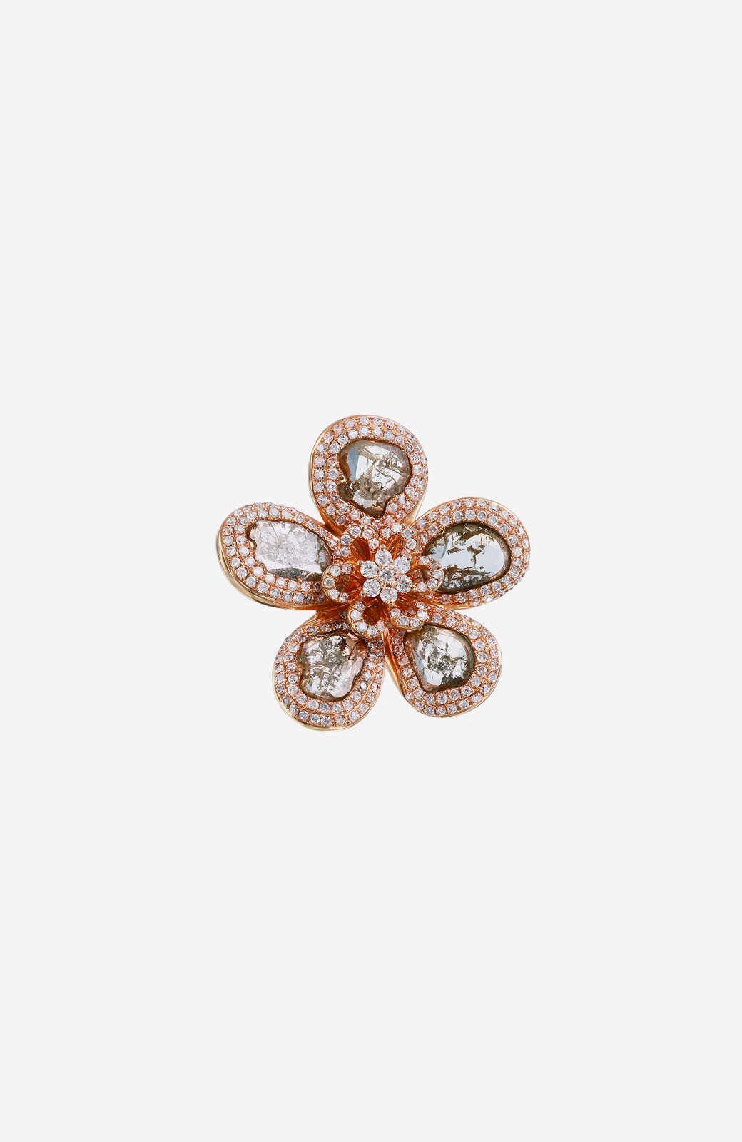 Rose Gold Slice Diamond Flower Earrings with Pave Diamonds