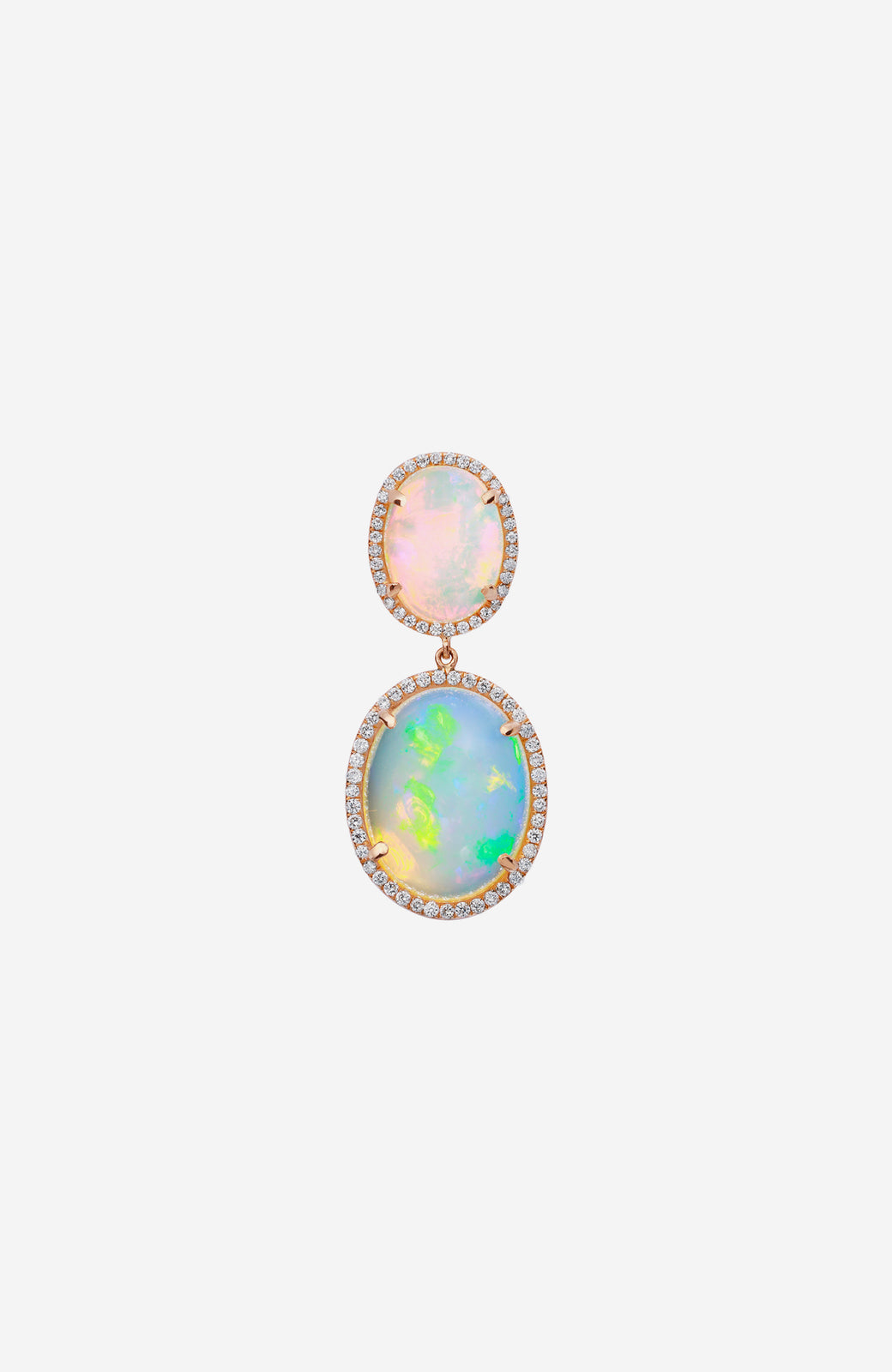 Yellow Gold Ethiopian Opal Earrings with Pave Diamonds
