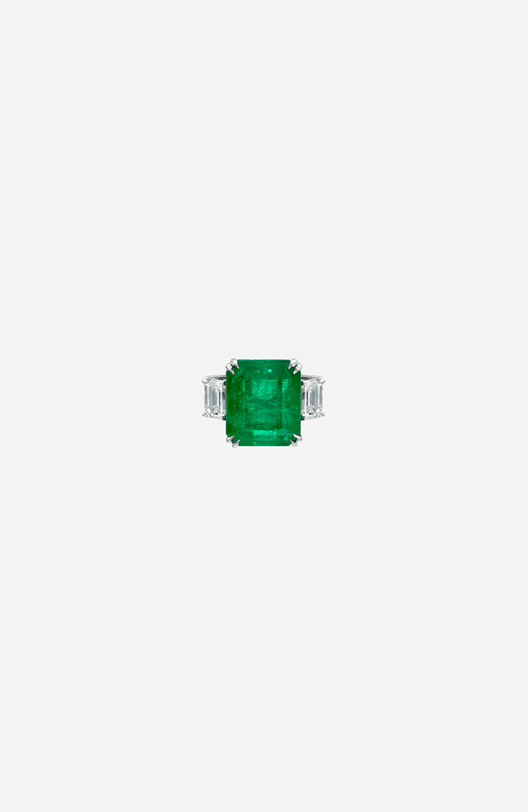 Platinum Colombian Emerald and Diamond Ring