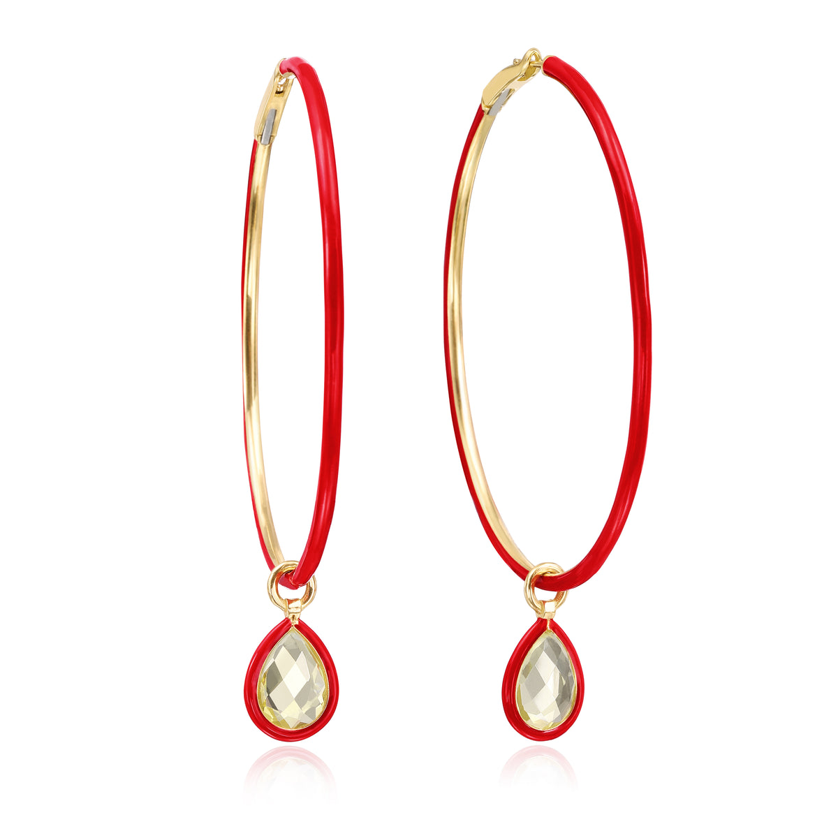Large Enamel Hoops in Red - Nina Runsdorf