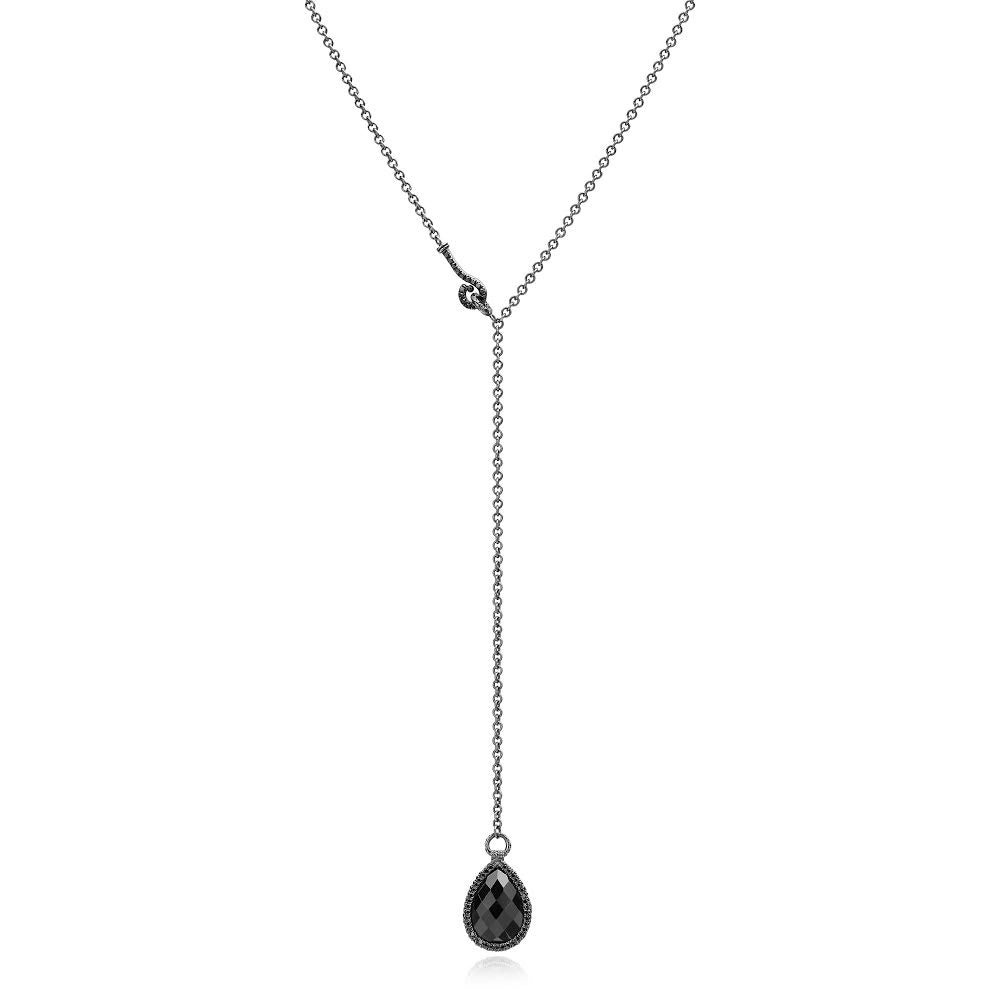 Black Spinel and Black Diamond Flip Necklace