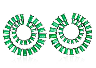 Emerald Double Spiral Hoop Earrings