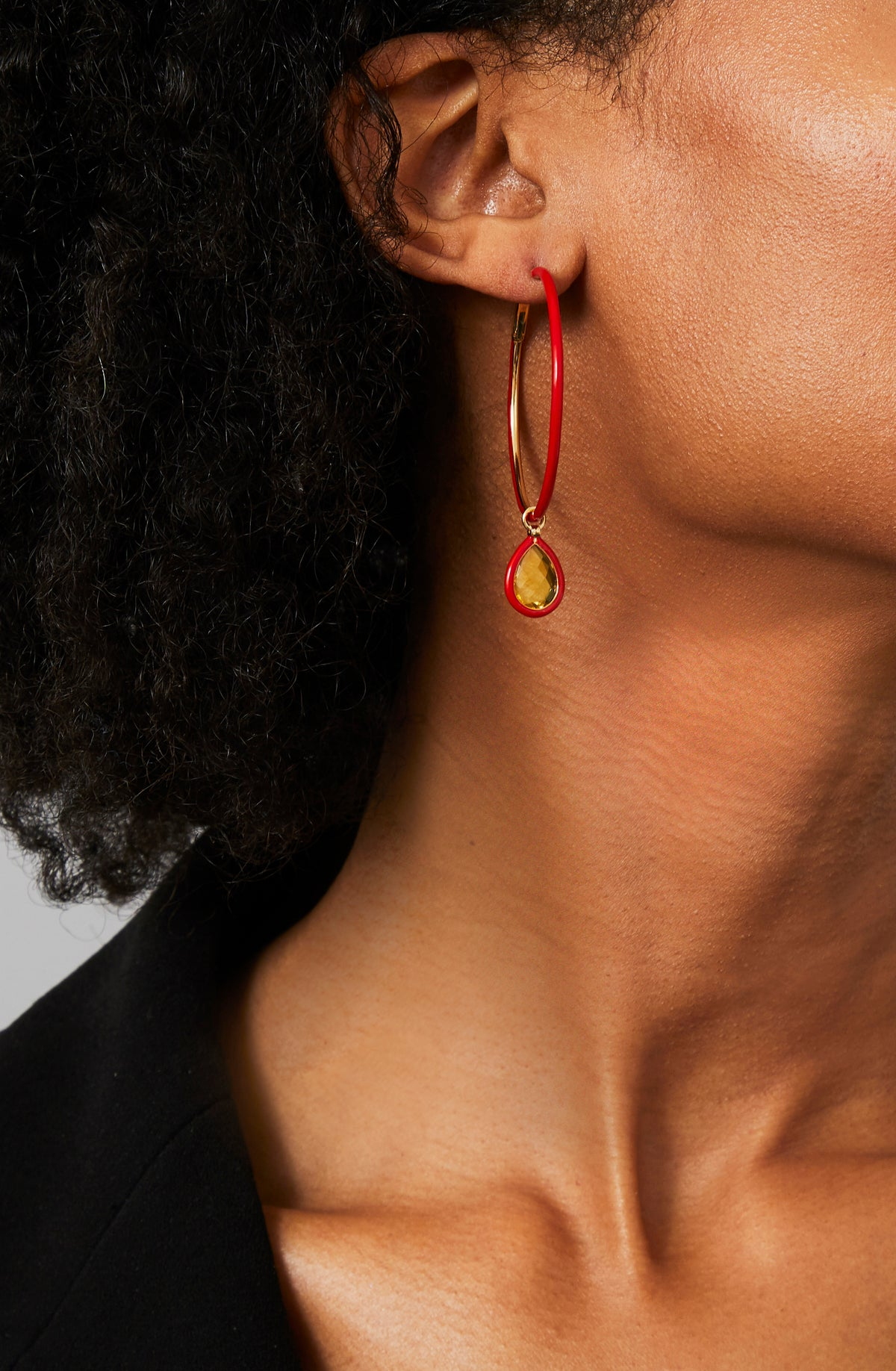 The Artist Medium Enamel Hoops In Red