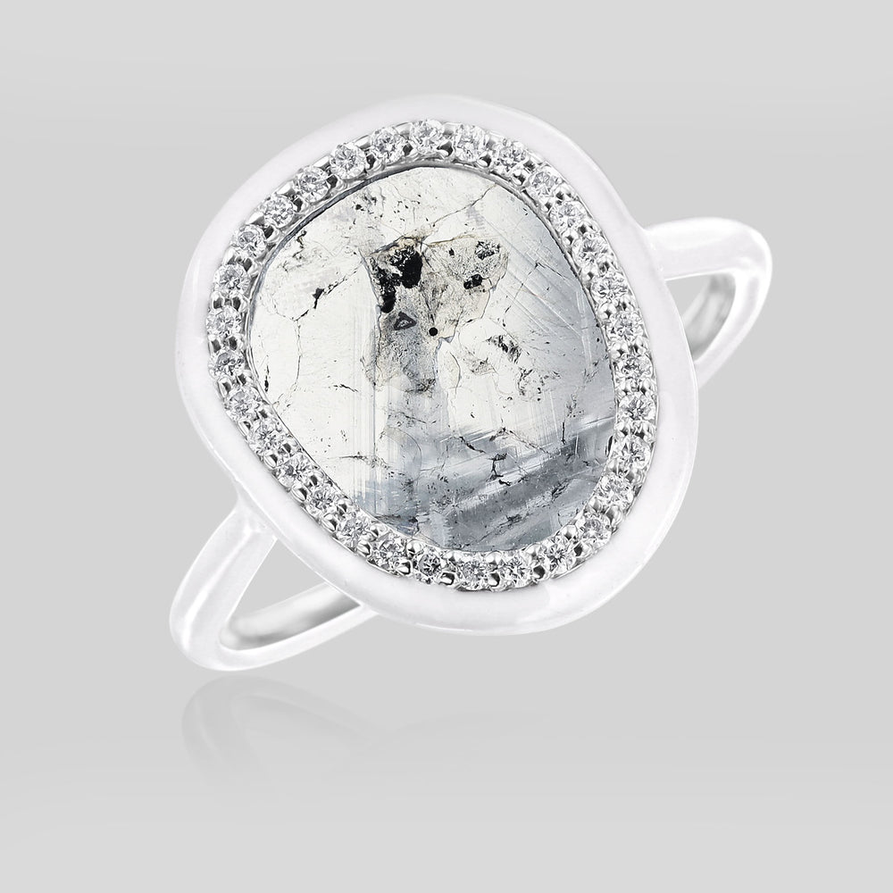 The Phoenix White Enamel Slice Diamond Ring - Nina Runsdorf