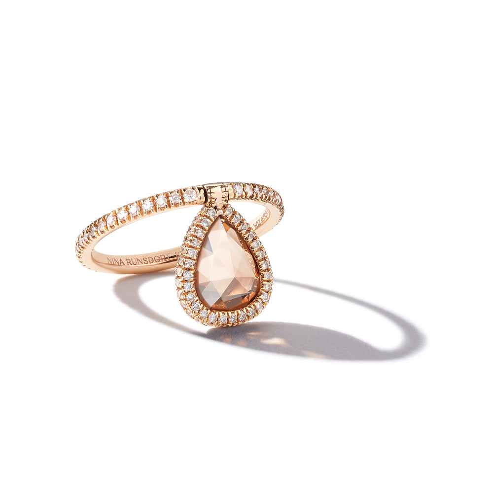 Rosecut Brown Diamond and Pavé Diamond Flip Ring