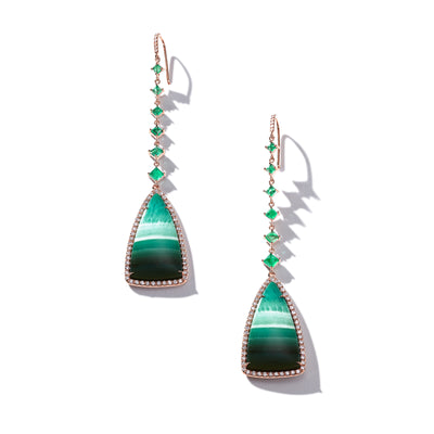 Emerald And Tree Opal Hanging Earrings